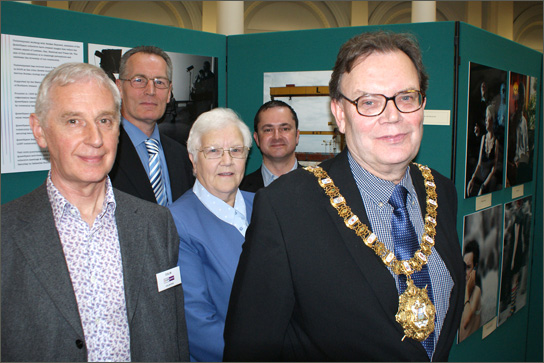 Colin Flinn, QueerSpace volunteer, Gerry Kelly, Junior Minister OFMDFM, Baroness May Blood, Gareth Lee, QueerSpace volunteer and Cllr Tom Hartley, Lord Mayor of Belfast
